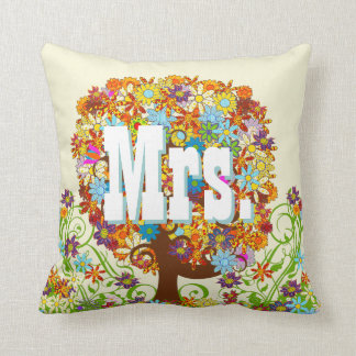 Personalized Brides Coral and Aqua Flower Tree Pillows