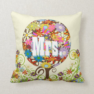 Personalized Brides Coral and Aqua Flower Tree Throw Pillows