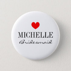 Personalized Bridesmaid Buttons For Wedding Party at Zazzle