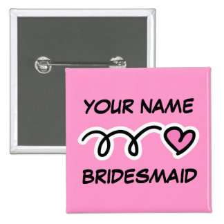 Personalized Bridesmaid Buttons With Cute Heart