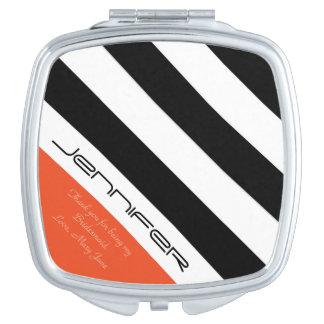 Personalized Bridesmaid Compact Mirror Orange