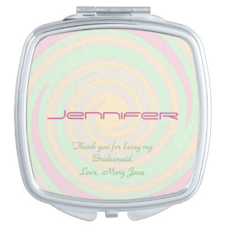 Personalized Bridesmaid Compact Mirror Pastel Spin