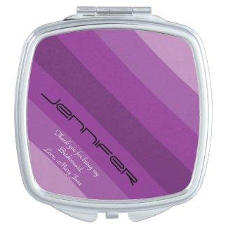 Personalized Bridesmaid Compact Mirror Purple