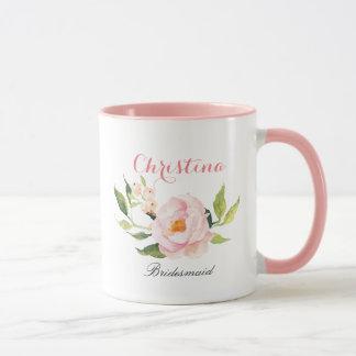 Personalized Bridesmaid Floral-2 Mug