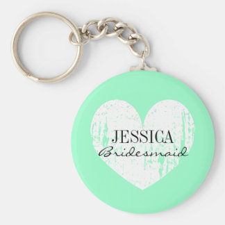 Personalized bridesmaid mint green heart keychain