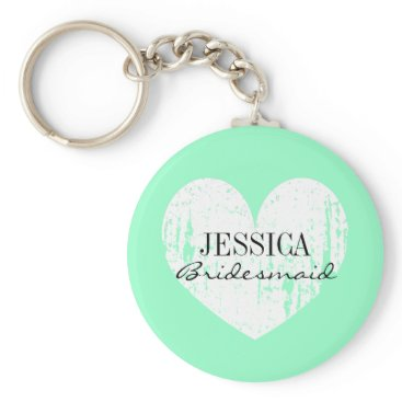 Valentines Themed Personalized bridesmaid mint green heart keychain