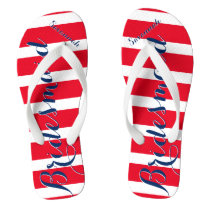 Personalized Bridesmaid Red White Blue Flip Flops