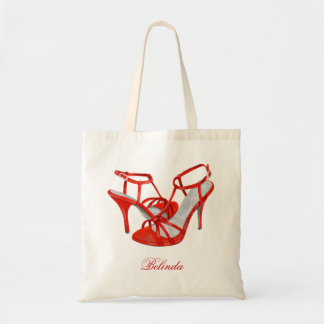Personalized Bridesmaid Tote Bags, red heels Budget Tote Bag