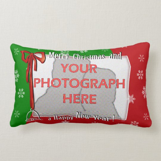 Personalized Bright and Cheerful Christmas Photo Lumbar Pillow