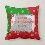 Personalized Bright and Cheerful Christmas Photo Throw Pillow