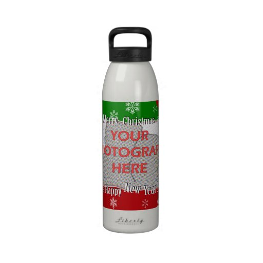 Personalized Bright and Cheerful Christmas Photo Reusable Water Bottle