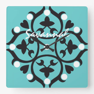 Personalized Bright Aqua Medallion or Any Color Square Wall Clock