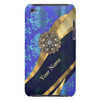 Personalized bright blue damask pattern iPod Case-Mate case