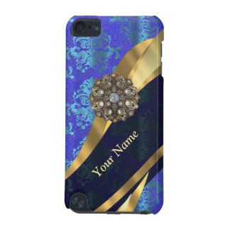 Personalized bright blue damask pattern iPod touch (5th generation) cover