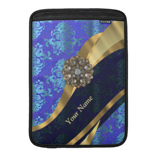 Personalized bright blue damask pattern MacBook air sleeve