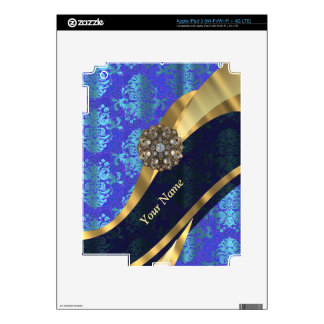 Personalized bright blue damask pattern skins for iPad 3