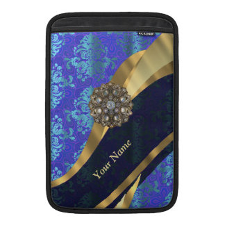 Personalized bright blue damask pattern sleeve for MacBook air