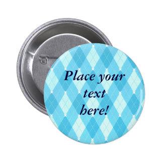 Personalized Bright Blue plaid Argyle  Buttons