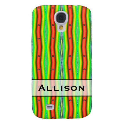 Personalized bright green orange abstract stripes galaxy s4 cover