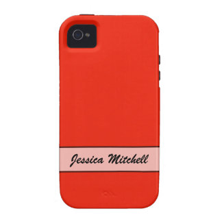 Personalized bright orange red color vibe iPhone 4 case