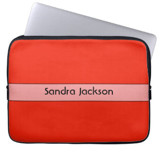 Personalized bright orange red color laptop computer sleeves