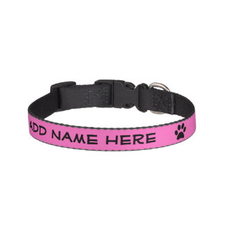 Personalized Bright Pink Black Pawprint Pet Collar