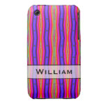 Personalized bright purple yellow pink stripes Case-Mate iPhone 3 case