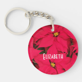 Personalized Bright Red Christmas Poinsettias Keychain
