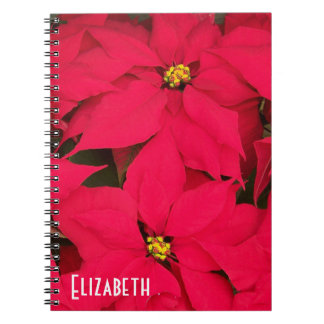 Personalized Bright Red Christmas Poinsettias Notebook