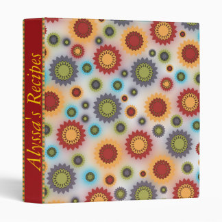 Personalized Brightly Colored Floral Abstract Binder