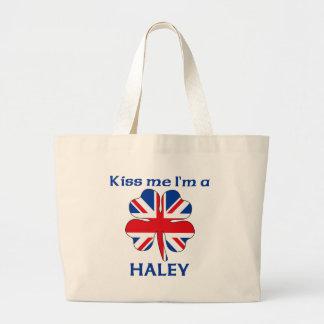 Personalized British Kiss Me I m Haley Canvas Bag