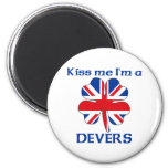 Personalized British Kiss Me I'm Devers Refrigerator Magnet