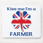 Personalized British Kiss Me I'm Farmer Mouse Mat