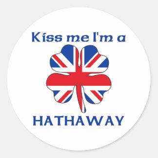 Personalized British Kiss Me I'm Hathaway Classic Round Sticker