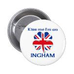 Personalized British Kiss Me I'm Ingham Pin