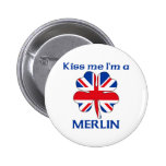 Personalized British Kiss Me I'm Merlin Pinback Button