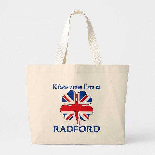 Personalized British Kiss Me I'm Radford Large Tote Bag