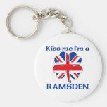 Personalized British Kiss Me I'm Ramsden Keychain