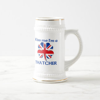 Personalized British Kiss Me I'm Thatcher 18 Oz Beer Stein