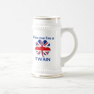 Personalized British Kiss Me I'm Twain 18 Oz Beer Stein
