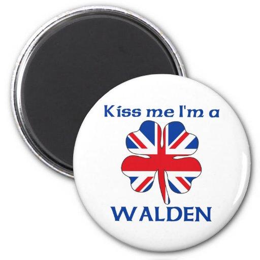 Personalized British Kiss Me I'm Walden Refrigerator Magnets