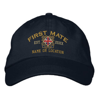Personalized British UK Flag First Mate Nautical Embroidered Hat