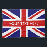 "Personalized British Union Jack flag kitchen towel<br><div class=""desc"">Personalized British Union Jack flag kitchen towel. Make your own English pride kitchen decorations. Custom UK United Kingdom,  GB Great Britain icons. UnionJack home decor. Fun for house party and events.</div>"