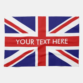 Personalized British Union Jack flag kitchen towel