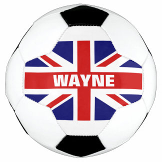 Personalized British Union Jack flag soccer ball