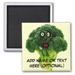 Personalized Broccoli Cartoon 2 Inch Square Magnet