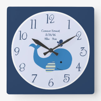 Personalized Brody Whale Nautical Wall Clock