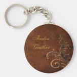 Personalized Bronze Scroll Leaf Keychain