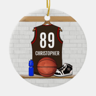 Personalized Brown and Orange Basketball Jersey Ornaments