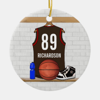 Personalized Brown and Orange Basketball Jersey Ornament